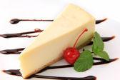 Vanilla cheesecake and cherry — Stock Photo