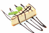 Vanilla cheesecake with mint — Stock Photo