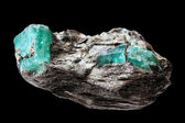 Ore with emeralds — Stock Photo