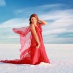 Girl at snow desert — Stock Photo #21584193