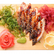 Sashimi unagi on a board top view — Stock Photo