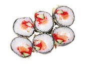 Top view of hot rolls with salmon — Stock Photo