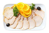 Sliced cold boiled pork — Stock Photo