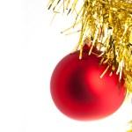 rot Weihnachten Spielzeug mit gelben Lametta — Stockfoto #15709053