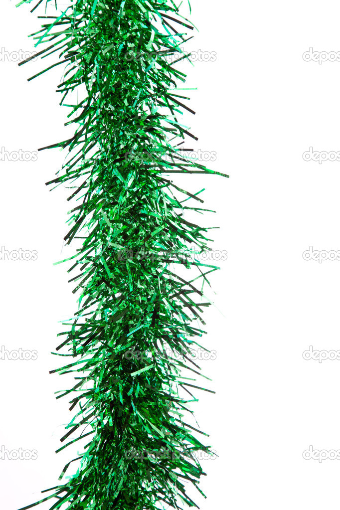 Green tinsel isolated on white — Stok fotoğraf #15708971