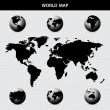 World map with globes — Imagen vectorial