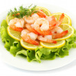 Shrimps with lemon - Stock Photo