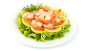 Shrimps with lemon — Stock Photo
