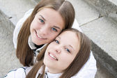 Close-up of pretty twins — Stock Photo