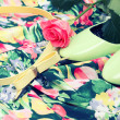 Green shoes, belt, rose on the dress — Stock Photo #22260225