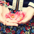 Stock Photo: Girl holding flowers in hands