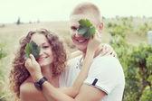 Couple in vineyards — Stock Photo