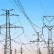 Stock Photo: Jungle of high voltage power electricity towers under sky