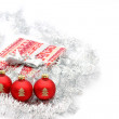 Three red christmas ball on white background — Stok fotoğraf