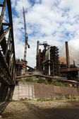 Working steel blast furnace in europe factory — Stockfoto