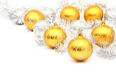 Set of white and yellow christmas ball on white — Stock Photo