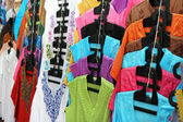 Indian new fashion clothes on the hangers — Stock Photo