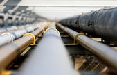Oil steel pipe in group — Stock Photo