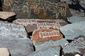 Detail of written mantra on buddhist mani stones — Stock Photo