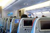 Interieur van passagier vliegtuig met de zetels — Stockfoto