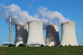 Detail view of nuclear power plant with cooling towers — Stock Photo