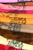 Indian colorfull fabric on stock — Stock Photo