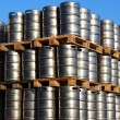 Stock Photo: Stock of steel kegs of beer in factory yard
