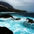 Dark island and see of canarian island  tenerife — Stock Photo