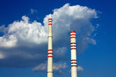 Two chimney from coal power plant — Stock Photo