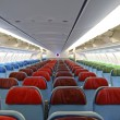Detail of airplane  interior with the seats — 图库照片