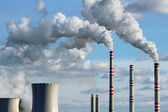 Polluted smoke from coal power plant — Stock Photo