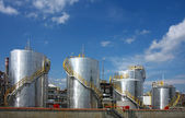 Oil refinery with tanks — Stock Photo