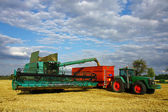 Harvester machine load trailer — Stock Photo