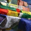 Stock Photo: Buddhist flag in wind