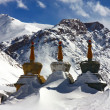 Tree stupas in winter himalaya - Stock Photo