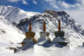 Tree stupas in winter himalaya — Stock Photo