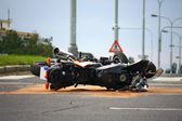 Motorcycle accident on the city road — Stock Photo
