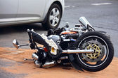 Motorbike accident on the city street — Stock Photo