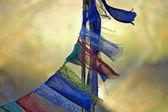 Old buddhist praying flags — Stock Photo