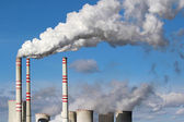White danger smoke from coal power plant chimney — Stock Photo
