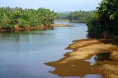 Paisaje tropical en la india del sur con el río — Foto de Stock