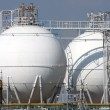 Detail of refinery tanks in chemical factory — Stock Photo