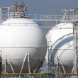 Stock Photo: Detail of refinery tanks in chemical factory
