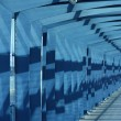 View of blue steel airport corridor — Stock Photo