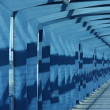 View of blue steel airport corridor — Stockfoto