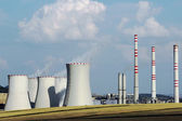 Brown coal power plant station in the field — Stock Photo