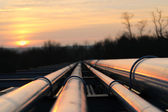 Crude oil pipeline transportation way  on african continent — Stock Photo