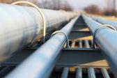 Detail of steel light pipeline in oil refinery — Stock Photo