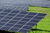 Huge field of solar power panels on meadow — Foto de Stock