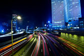 Tel aviv skyline - Night city — Stock Photo